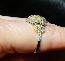 Load image into Gallery viewer, Yellow Diamond Ring, Natural Yellow Diamonds, White Diamond Halo, Engagement