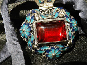 Cloisonne Pendant Necklace Enamel Statement OOAK