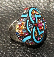 Load image into Gallery viewer, Sapphire Ring 4 Cts Multicolor,  Effy, Enameled Sterling Silver, 20.4 Grams