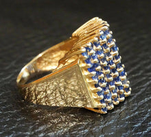 Load image into Gallery viewer, Sapphire Pyramid Ring, Cornflower Blue Ceylon Sapphires, 14K Yellow Gold, Estate,