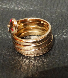 Featured Antique Snake Ring, 14K Gold Diamond Ruby, 13.99 Grams, 1800s Wedding Engagement, Egyptian Revival