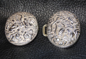 Antique Silver Buckle, Chinese Export, Repousse,  Circa 1890 23.3 Grams