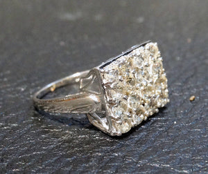 Engagement Wedding Ring, Natural Zircon, Sterling, Vintage 3.65 Carats