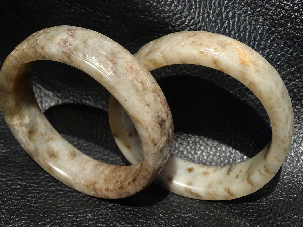 Antique Jade Bangle Pair, Carved Nephrite, Qing Dynasty 18th/19th Century