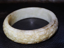 Load image into Gallery viewer, Carved Jade Bangle, Hetian Nephrite, Cloud Pattern, Qing Dynasty 1800s