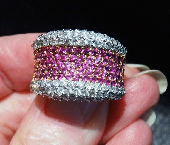 Featured Pink Sapphire  Ring, 18K Gold, Diamonds, 3.22ctw, Wedding, Engagement