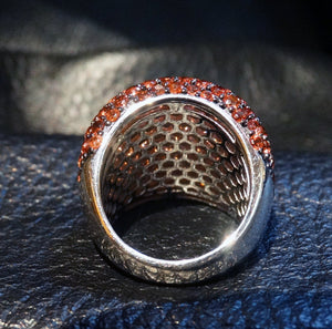 Gorgeous Garnet Ring, 7.95 Carats Salmon Color,  Dome Style, Sterling Silver