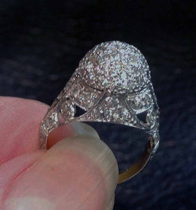 Featured Edwardian Diamond Ring, Platinum Filigree, Engagement Wedding Circa 1910
