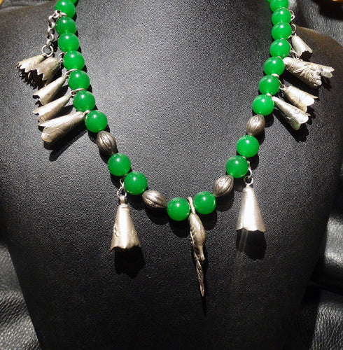 Jade Court Necklace,  Natural Color, Antique Tinkling Charms, 1800s