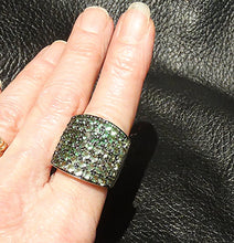 Load image into Gallery viewer, Tsavorite Garnet Ring, Green Garnets in Platinum Overlay Sterling Silver