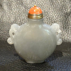 Jade Snuff Bottle with Stone Stopper, Gray Nephrite Circa 1920s