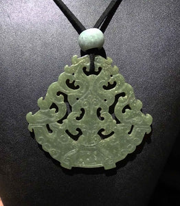 Jade Necklace, Antique Nephrite Pendant
