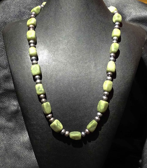 Jade Pearl Necklace, Vintage