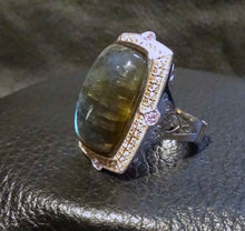 Load image into Gallery viewer, Labradorite Statement Ring, Sapphire, Sterling