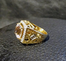 Load image into Gallery viewer, Diamond Morganite Ring, 18K Gold