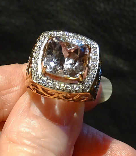 Diamond Morganite Ring, 18K Gold