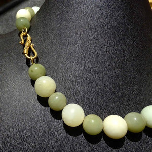 Vintage Necklace, Jade, Fluorite, Pearls, Double Strand