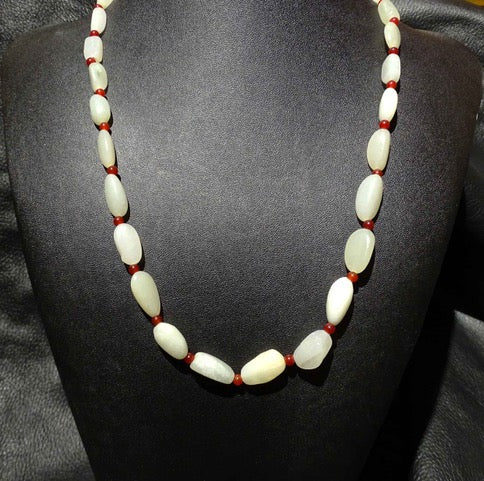 Jade Bead Necklace, Hetian Nephrite, Mutton Fat