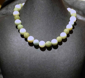 Jade Necklace, Antique Nephrite Beads