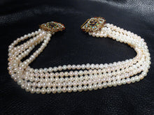 Load image into Gallery viewer, SOLD Featured Multistrand Pearl Necklace, Art Nouveau Enamel Clasp, Vintage
