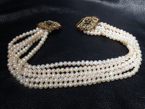 SOLD Featured Multistrand Pearl Necklace, Art Nouveau Enamel Clasp, Vintage