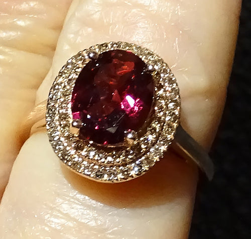Diamond Rhodolite Ring, Champagne Diamonds, Rose Gold