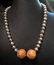 Load image into Gallery viewer, Pearl Necklace, 22K Handmade Carved Beads
