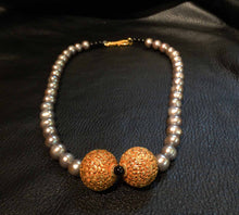 Load image into Gallery viewer, Featured Exotic Pearl Necklace, Genuine Pearls, 22K Handmade Beads, Vintage