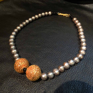 Pearl Necklace, 22K Handmade Carved Beads
