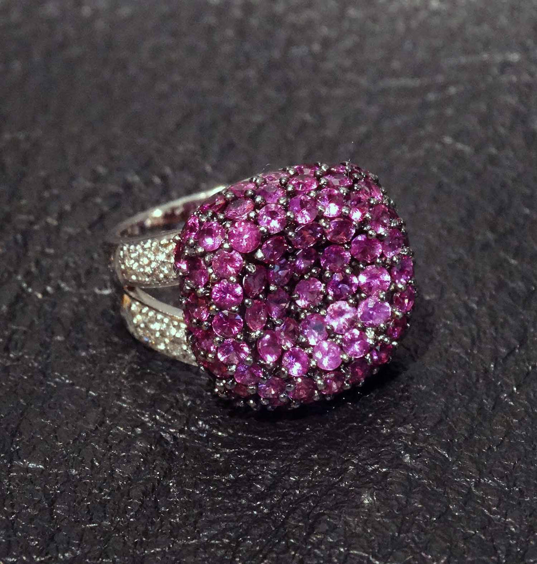 Featured Pink Sapphire Ring, White Diamonds, 4.16 Carats TW, 18K White Gold