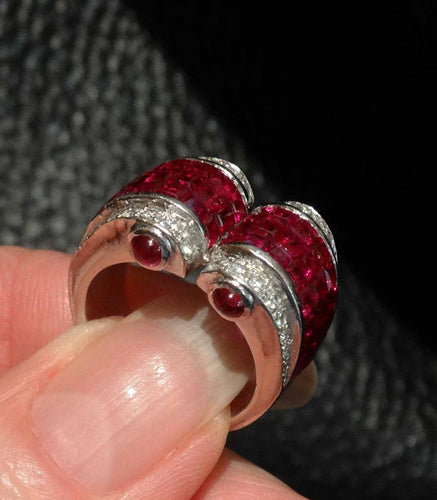 Featured Platinum Ruby Diamond Ring, Art Deco Invisible Setting, Circa 1920s