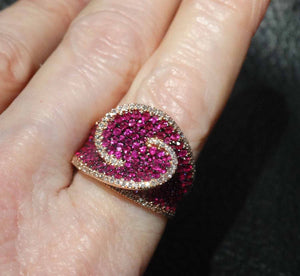 Featured Designer Ruby Diamond Ring, 14K Rose Gold, 2.64 ctw