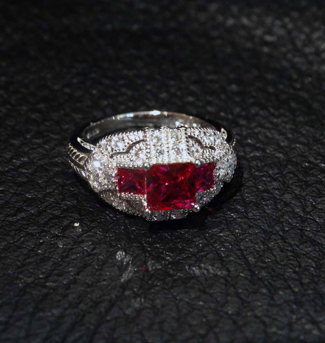 Featured ArtDeco Ruby Ring Replica, Cubic Zirconia, Sterling Silver