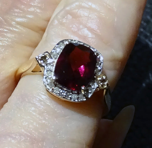 Diamond Rhodolite Ring, Rare Purple Color, Gold