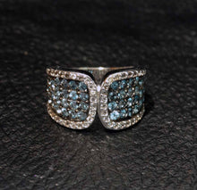 Load image into Gallery viewer, Blue Topaz Ring, Platinum Over Sterling Silver