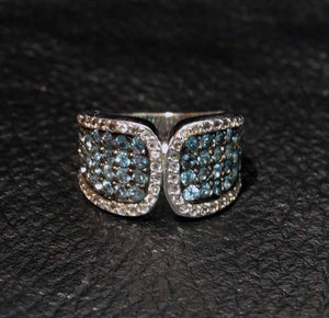 Blue Topaz Ring, Platinum Over Sterling Silver