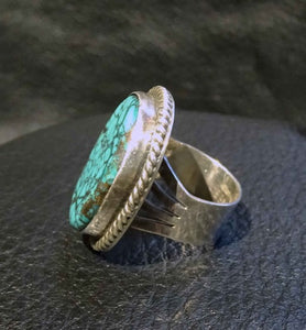 Turquoise Spiderweb Ring, Kingman, Sterling, Navajo