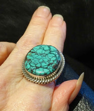 Load image into Gallery viewer, Turquoise Spiderweb Ring, Kingman, Sterling, Navajo