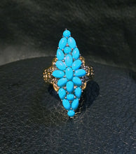 Load image into Gallery viewer, Turquoise Ring Sleeping Beauty Mine, Palladium Sterling, 18K Gold
