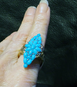 Turquoise Ring Sleeping Beauty Mine, Palladium Sterling, 18K Gold
