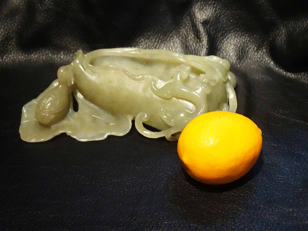 Jade Brush Washer, Large Hetian Nephrite, Carved Celadon, Qing Dynasty 1800s