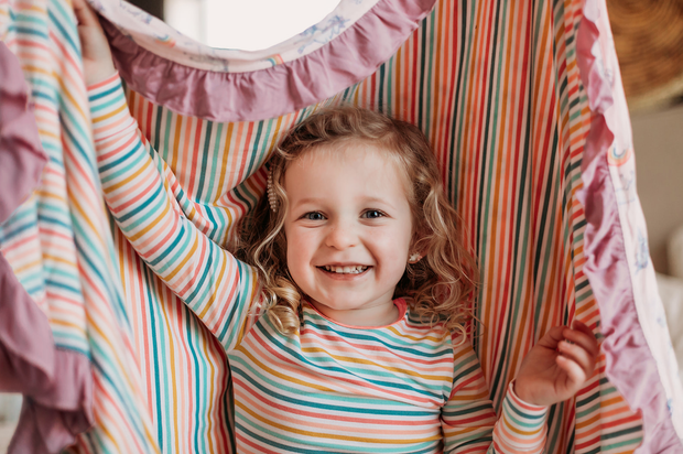 Rainbow Stripe Long Sleeve Pajama Set (2T-10Y)