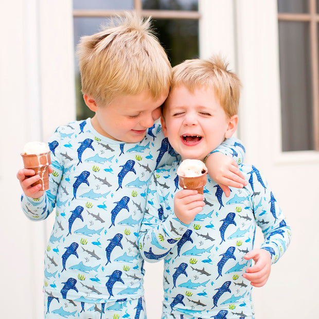 Ocean Blue Sharks Pajama Set (2T-8Y)