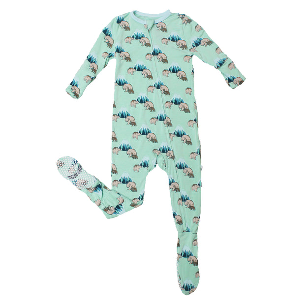 Grass Grizzly Bears Footie (2T-3T)