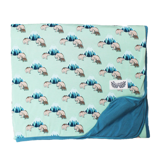 Grass Grizzly Bears Toddler Blanket