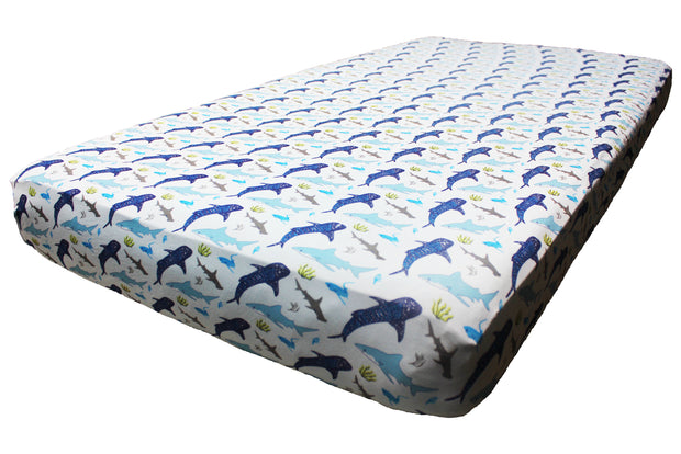 Ocean Blue Sharks Crib Sheets