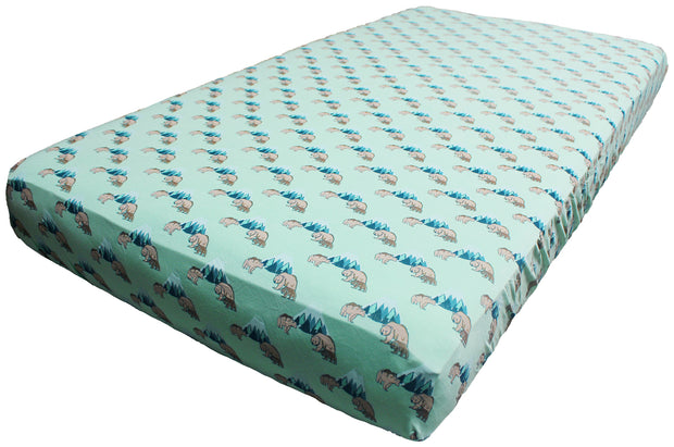 Grass Grizzly Bears Crib Sheets