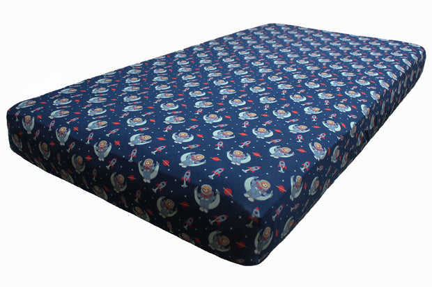 Midnight Blue Astro Sloth Crib Sheets