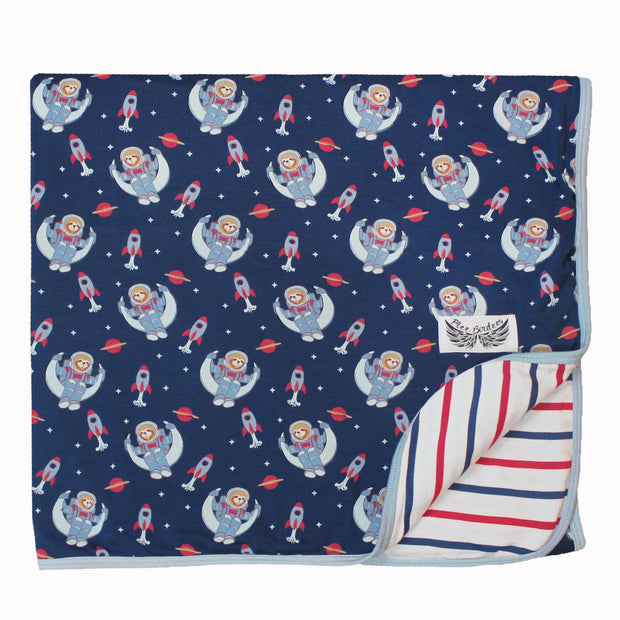 Midnight Blue Astro Sloth Toddler Blanket