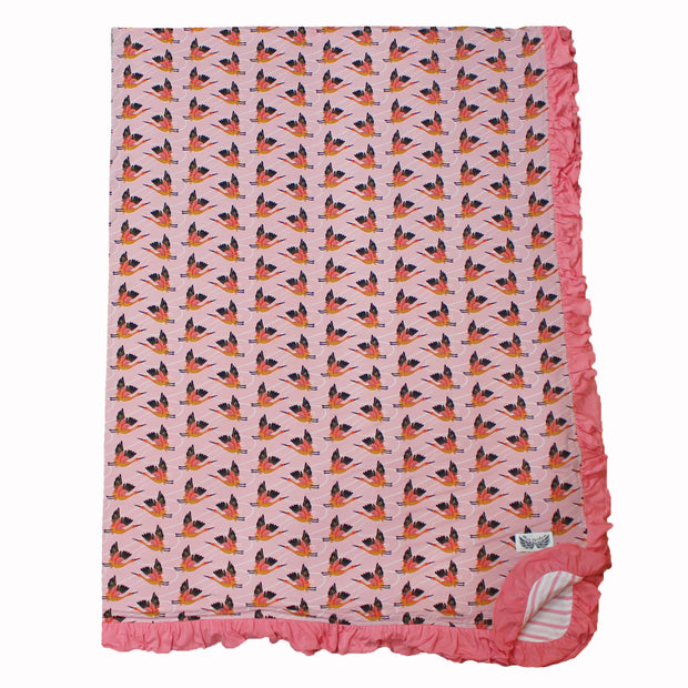 Cherry Blossom Cranes Double-Layered Ruffle Throw Blanket